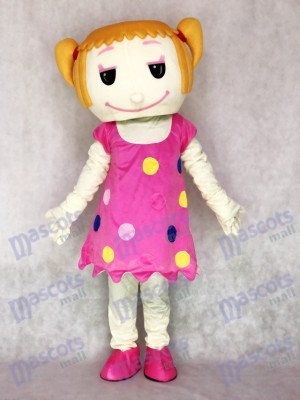 Festes Haar Mädchen im rosafarbenen Kleid erwachsenes Maskottchen Kostüm Leute