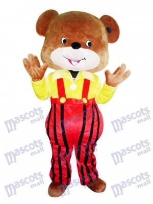 Gelb Mantel Overalls Bär Maskottchen Kostüm Cartoon Tier
