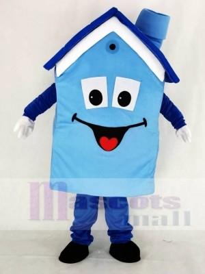 Realistisch Blau Haus Maskottchen Kostüm Schule