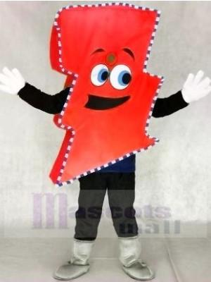 Neon rot Blitz Bolzen mit Farbe Trimmen Herr. Elektrisch Blitz Bolzen Maskottchen Kostüme