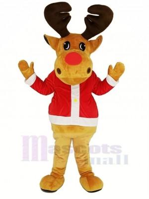 Braun Rentier mit rot Mantel Maskottchen Kostüm Weihnachten