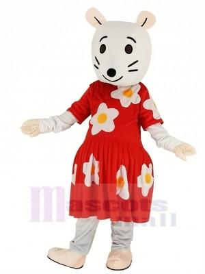 Grau Maus mit rot Kleid Maskottchen Kostüm Karikatur