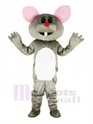 Grau Maus mit rot Nase Maskottchen Kostüm Karikatur
