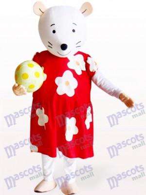 Süße Maus in rot und weiß geblümten Kleid Tier Maskottchen Kostüm