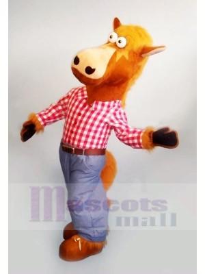 Pferd mit Rosa T-Shirt Maskottchen Kostüme Tier
