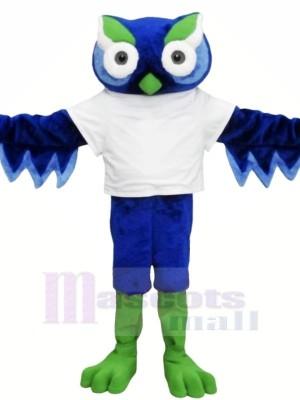 Süß Blau Eule mit Grün Augenbraue Maskottchen Kostüme Tier