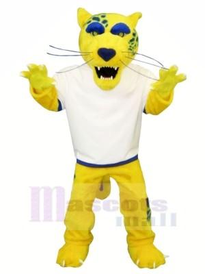 Gelb Jaguar mit Weiß T-Shirt Maskottchen Kostüme