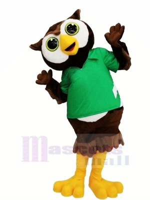 Schön Eule mit Grün T-Shirt Maskottchen Kostüme