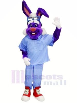Arzt Hase mit Blau Hemd Maskottchen Kostüme Tier