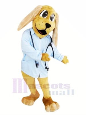 Arzt Hund mit Blau Hemd Maskottchen Kostüme Tier