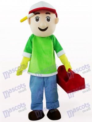 Grünes und blaues Verkäufer Jungen Karikatur Maskottchen Kostüm