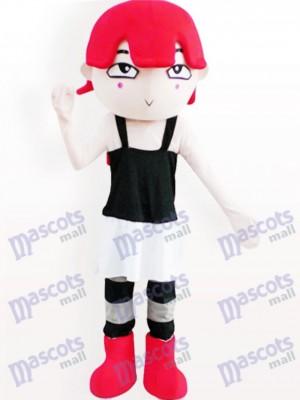 Rot Behaartes Mädchen Cartoon Adult Maskottchen Kostüm