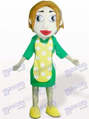 Frau mit gelben Schürze Cartoon Adult Maskottchen Kostüm
