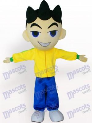 Großer Hauptjunge in der gelben Kleidung Cartoon Maskottchen Kostüm für Erwachsene
