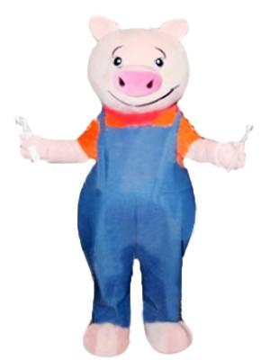 Lustig Schwein mit Blau Overall Maskottchen Kostüme Tier