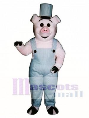 Arbeiter Ferkel Schwein mit Overalls & Hut Maskottchen Kostüm
