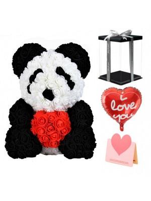 Panda Rosenbär mit rotem Herzen Bestes Geschenk für Muttertag, Valentinstag, Jubiläum, Hochzeit und Geburtstag