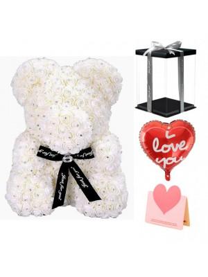 Diamant Weiß Rose Teddybär Blumenbär Bestes Geschenk für Muttertag, Valentinstag, Jubiläum, Hochzeit und Geburtstag