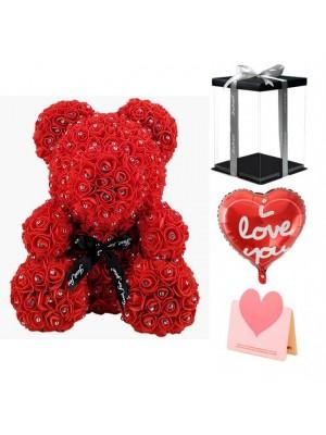 Diamant Rote Rose Teddybär Blumenbär Bestes Geschenk für Muttertag, Valentinstag, Jubiläum, Hochzeit und Geburtstag