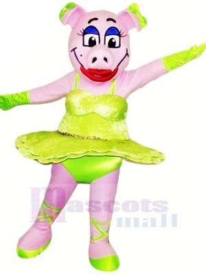 Tanzen Schwein mit Grün Rock Maskottchen Kostüme Tier