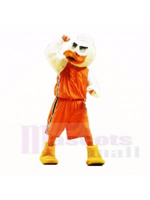 Sport Ente mit Orange Shirt Maskottchen Kostüme Erwachsene