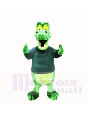 Grün Alligator mit Schwarz Hemd Maskottchen Kostüme Schule