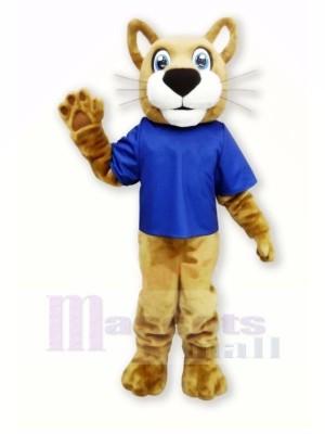 Braun Wilde Katze mit Blau T-Shirt Maskottchen Kostüme