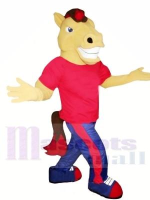 Braun Pferd mit rot T-Shirt Maskottchen Kostüme Tier