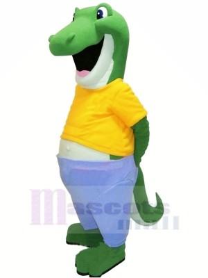 glücklich Alligator mit Gelb T-Shirt Maskottchen Kostüme Erwachsene