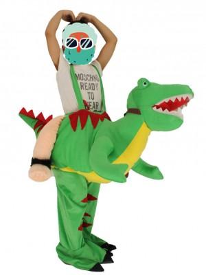 Kinder Huckepack Tragen Sie mich auf Open Mouth Green Dinosaurier Drachen Maskottchen Kostüme