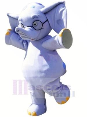 Blau Elefant mit Brille Maskottchen Kostüme Karikatur