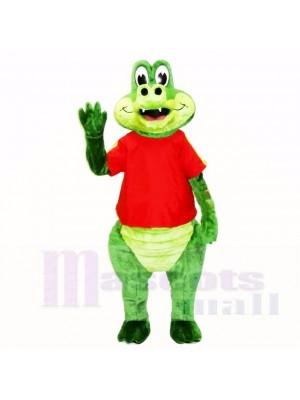 Freundlich Krokodil mit rot Hemd Maskottchen Kostüme Karikatur