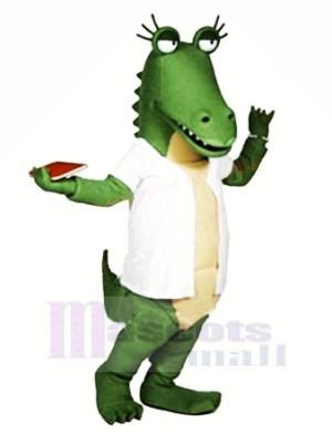 Lustig Alligator mit Weiß T-Shirt Maskottchen Kostüme Karikatur