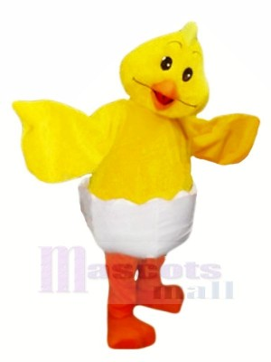 Lächelndes gelbes Ei-Hühnermaskottchen kostümiert Tier