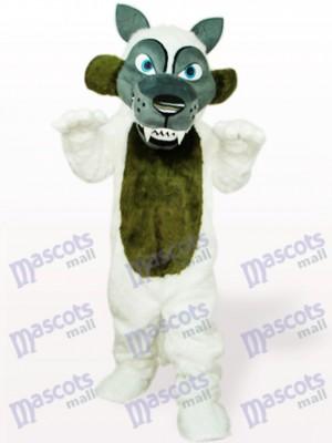 Weißes langes Haar Wolf Tier Maskottchen Kostüm für Erwachsene