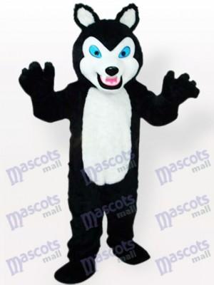 Kleiner schwarzer Wolf mit grinsenden Zähnen Tier Maskottchen Kostüm