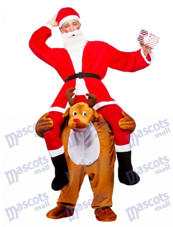 Rentier Carry Me Maskottchen Kostüm Rentier tragen Weihnachtsmann Weihnachtskleid