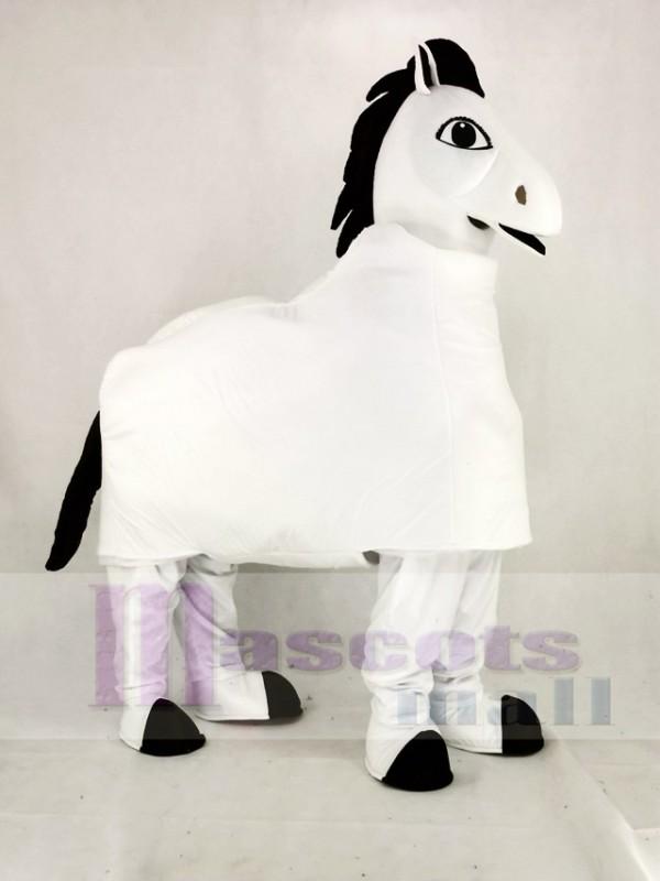 Weiß 2 Person Pferd Maskottchen Kostüm Karikatur