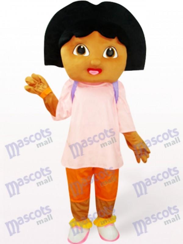 Nettes Mädchen im rosa Anime Maskottchen Kostüm
