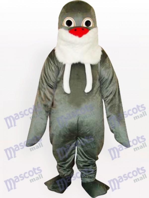 Grey Walrus mit weißem Bart und roter Nase Maskottchen Lustiges Kostüm