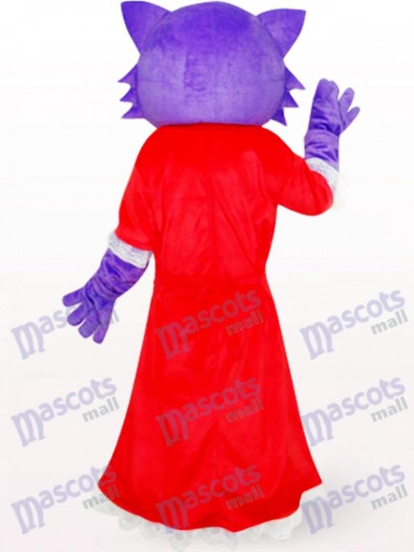 Rotes Kleid Weiblich Lila Bär Anime Maskottchen Kostüm