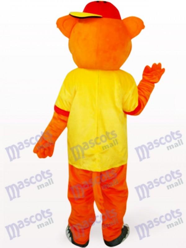 Gelbes männliches Pipi Bär Tier Maskottchen Kostüm