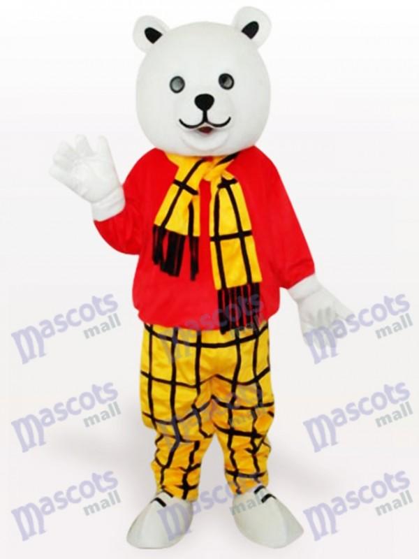 Bär im roten Hemd Cartoon Maskottchen Kostüm