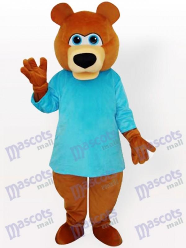 Bär im blauen T-Shirt Cartoon Maskottchen lustiges Kostüm