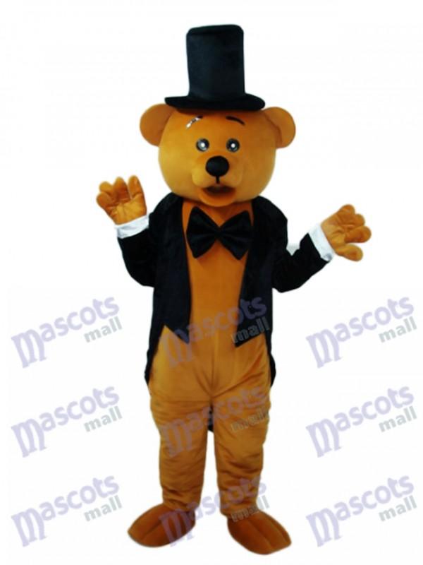 Tragen Sie im schwarzen Anzug Maskottchen Erwachsenen Kostüm Tier