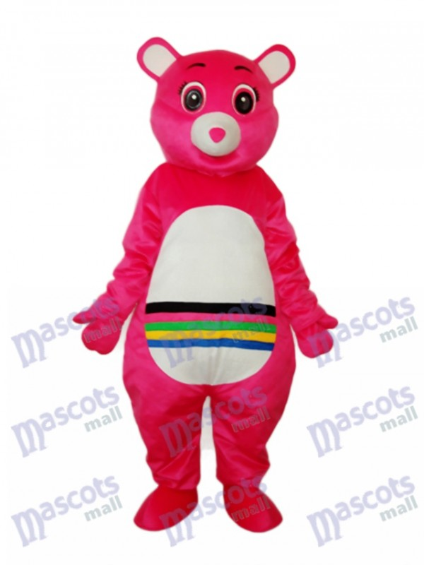 Rosa Bär mit bunten Bauch Maskottchen Erwachsenen Kostüm Tier