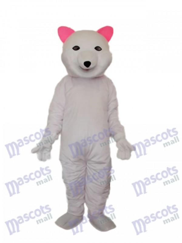 Rosa Ohren Eisbär Maskottchen Erwachsene Kostüm Tier