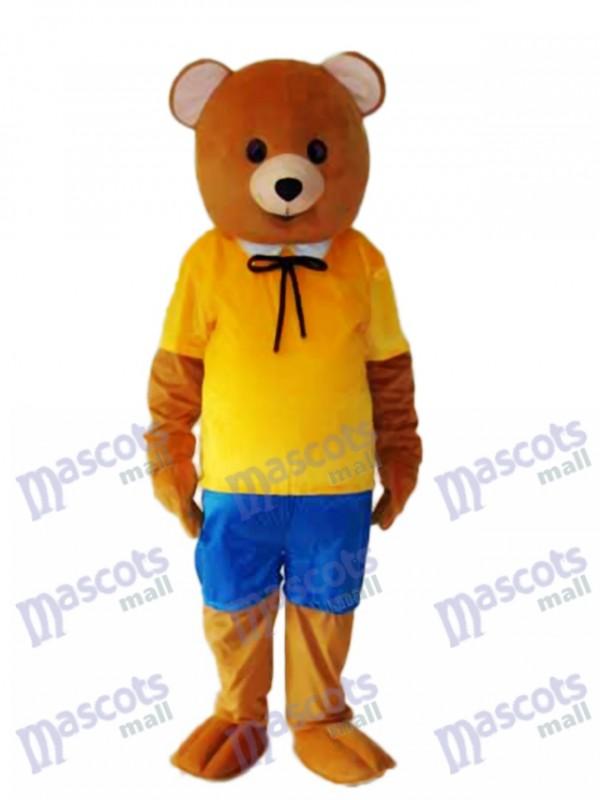 Gelbes Hemd Teddybär Maskottchen Erwachsene Kostüm Tier