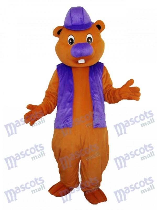 Purpurrotes Biber Maskottchen erwachsenes Kostüm Tier