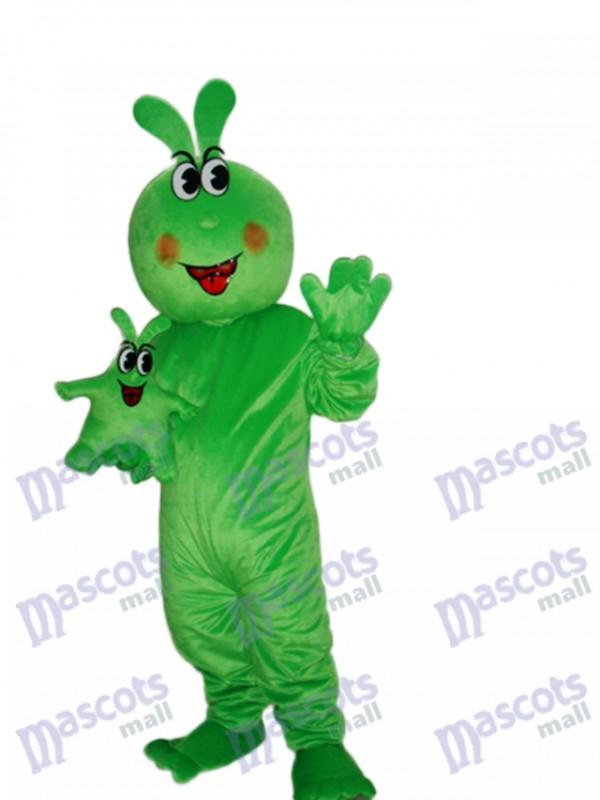 Glückliches grünes Wurm Maskottchen erwachsenes Kostüm Insekt
